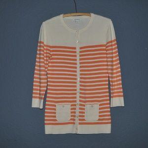 BANANA REPUBLIC Papaya Striped Cardigan Sweater F8